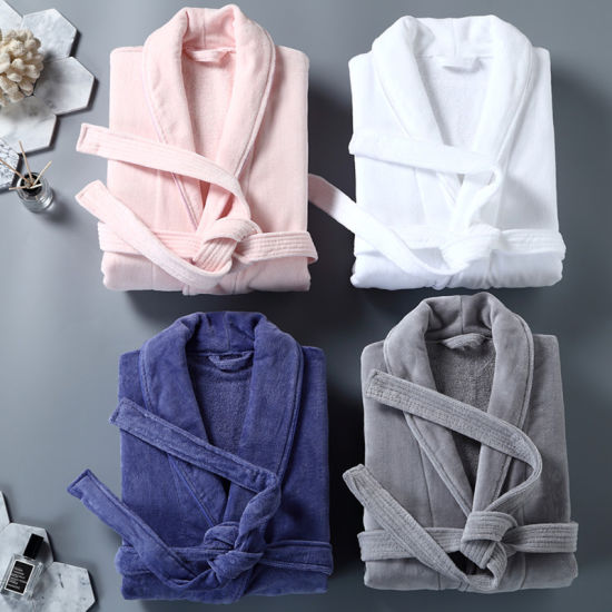 Factory Directly Supply Cotton White Towel Terry Bathrobes Men and Women Bathrobes for Hotels