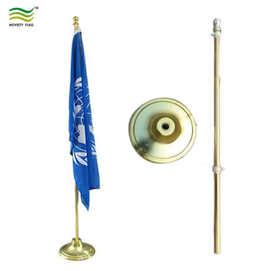 Indoor 235cm High Aluminum Golden Silver Office Telescopic Flagpole pictures & photos