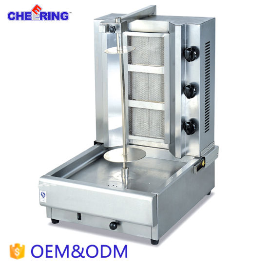 Stainless Steel 3-Head Gas Kebab Machine for BBQ