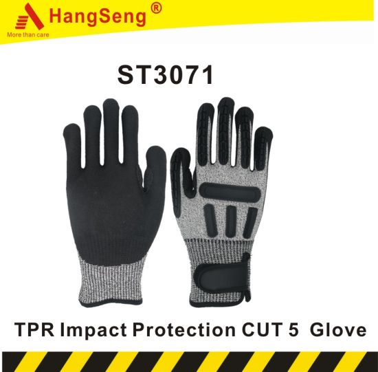 TPR Impact Vibration Proof Safety Work Glove for Mining Industrial Use