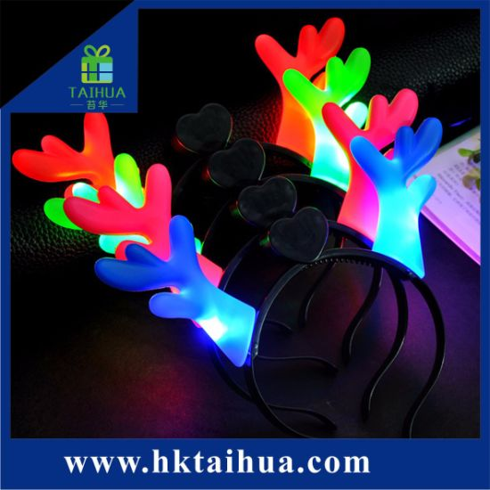 Cheap Price Christmas Decoration Flash Light Hair Band, Hair Hoop, Head Hoop with LED Light