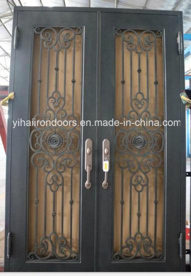 2018 Factory New Design Manufacturer Wrought Iron Front Doors Home  Decoration Outside Garden Gate Door Fencing