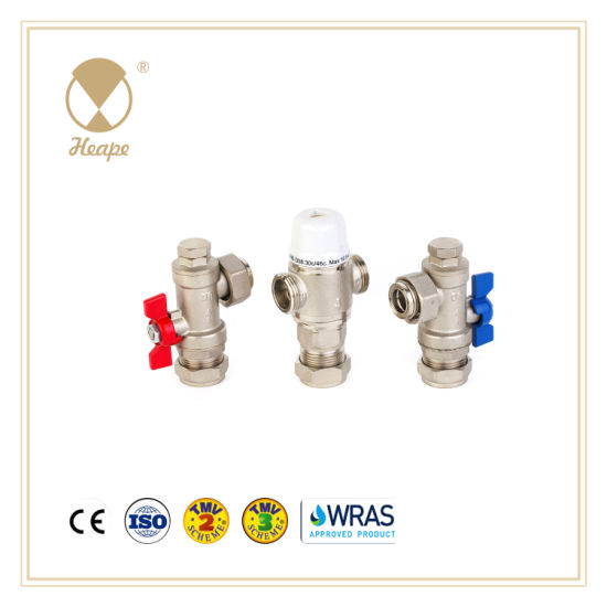 Heape New Style Tmv3 Brass Water Thermostatic Mixing Valve with Ball Valve for Hardware
