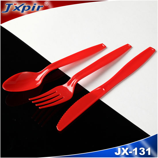 Red Medium Weight Professional Disposable PS Cutlery Pack