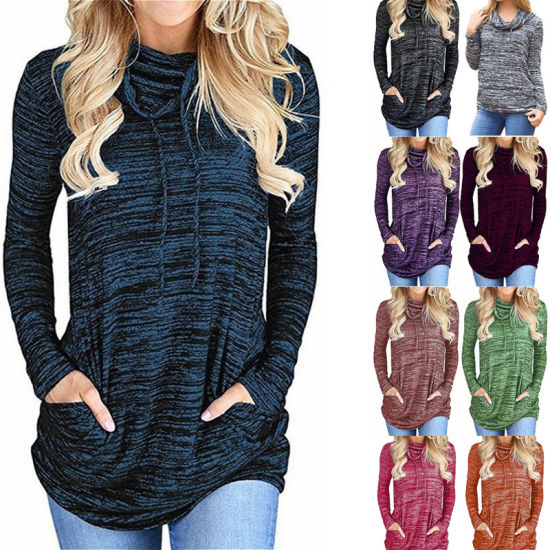 Women's Relaxed Tops Long Sleeve Loose T Shirts with Pockets