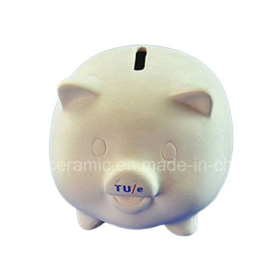 DIY Children Toy of Unpainted Cheap Ceramic Piggy Bank pictures & photos