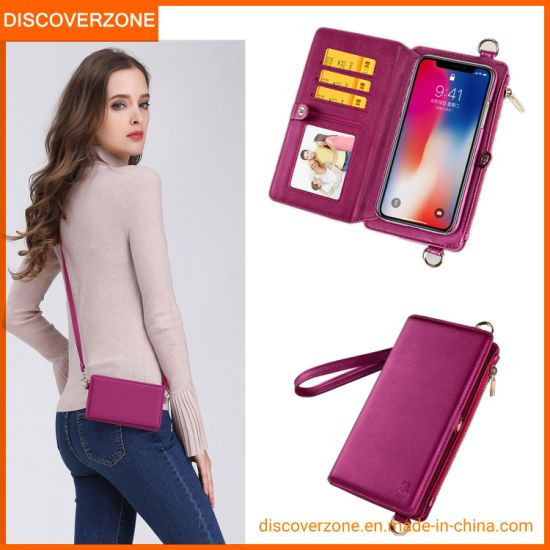 Fashion Shoulder Zipper Bags Mobile Phone Cases Wallet Cover for iPhone