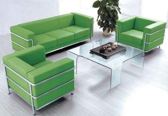 China Modern Italian Green Leather Sofa