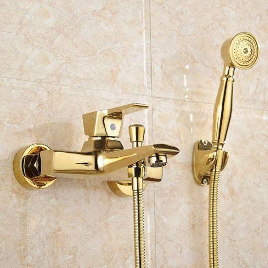 Golden Brass Bathroom Faucet Clawfoot Tub Faucet ceramics Handle w// Hand Shower