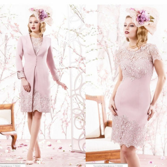 Elegant Duchess Satin Lace Applique Knee-Length Bride Mother Dress (Dream-100107) pictures & photos