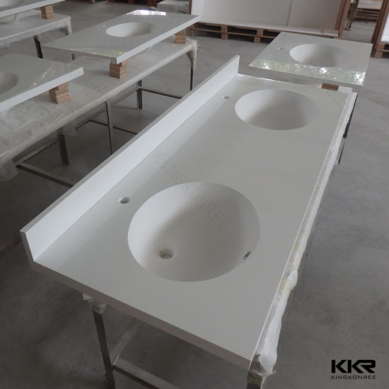 Acrylic Solid Surface Double Sink Bathroom Stone Vanity Top V1706233