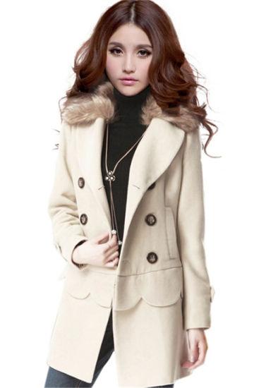 0205be89cd Korean Style Winter Long Jackets Multi Wear Fur Collar Double Breasted  Women′s Woolen Coat. Get Latest Price