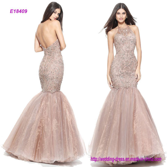 58180c69ffc Hot Sale Halter Beaded Mermaid Prom Dress with an Organza Skirt and Sexy Open  Back