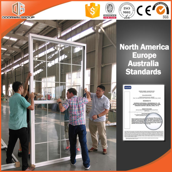 American Window with Grille, Ultra-Large Type Single Hung Thermal Break  Aluminum Window Export to USA/America
