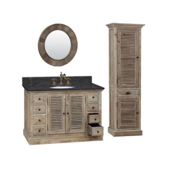 Reclaimed Rustic Wood 48 Inch Vanity Cabinet Furniture Bathroom