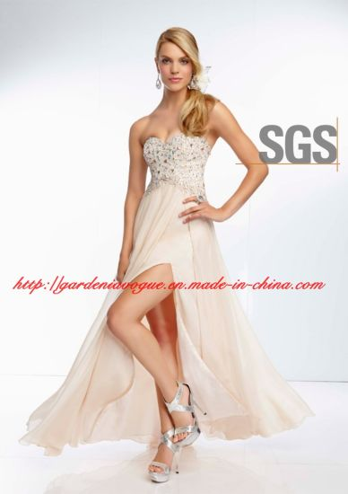 Champagne Beaded Long Chiffon Skirt Split Side Girls Graduation Dress SGS Homecoming Dress (GDNY120)