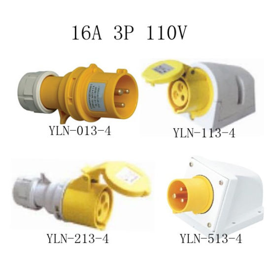 China 16A 110V Yellow Electrical Plug and Socket - China 16a 110v ...