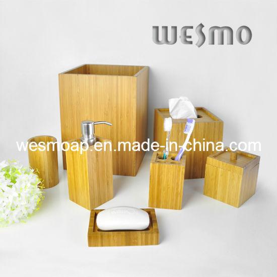 Square Bamboo Bath Accessory 7sets (WBB0624A)