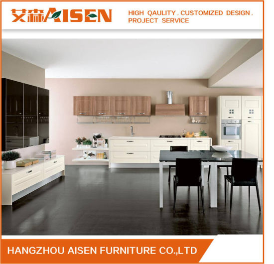 2018 Popular Combine Veneer and Lacquer Modern Furniture Kitchen Cabinets pictures & photos