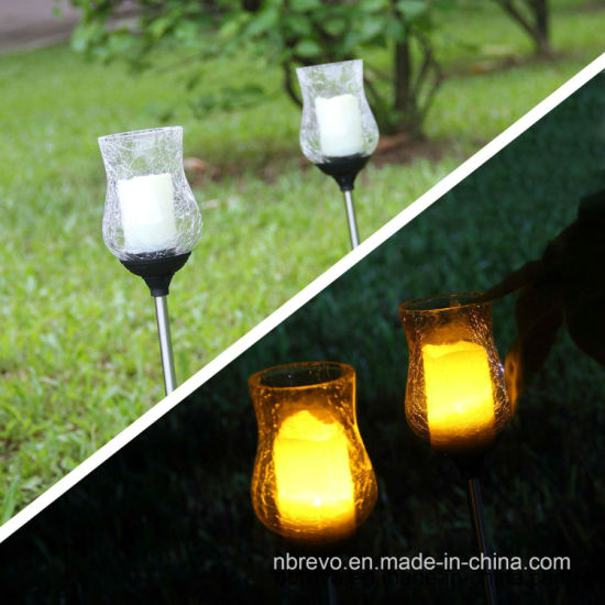 Crackle Glass Glickering Candle LED Solar Garden Light (RS118) pictures & photos