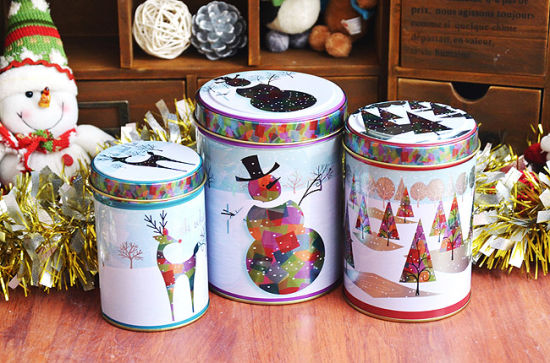 Round Tin Storage Box for Christmas Gifts (FV-042920)