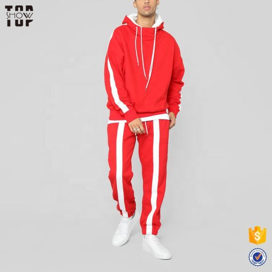 Double Hood Newest Men's Clothing Oversize Red Tracksuit with Side Stripe