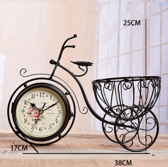 Creative Metal Clock Bicycle Flower Pot for Home Desktop Decoration