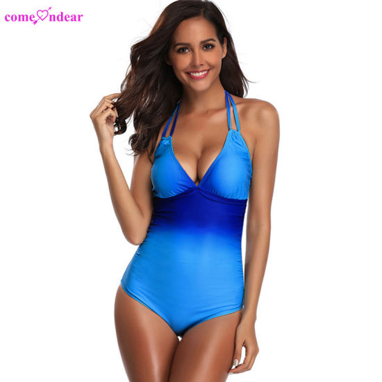 Wholesale Halter Mesh High Cut Sexy Women One Piece Swimsuit for Women pictures & photos