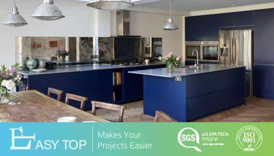 Guangzhou Factory Open Kitchen Navy Color Modern Kitchen Cabinets
