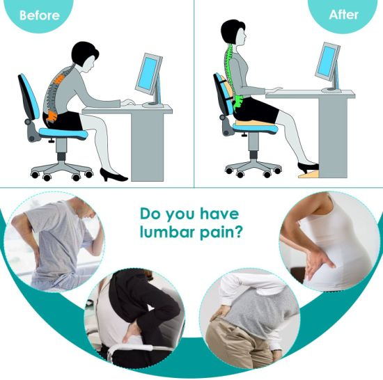 China Lumbar Support Pillow Back Cushion Memory Foam Orthopedic Backrest For Car Seat Office Computer Chair And Wheelchair Breathable Ergonomic Design For Back Pa China Car Cushion Seat Cushion