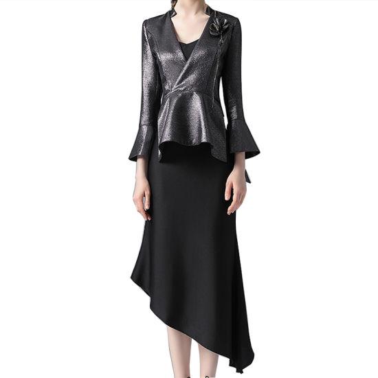 2021 Spring Autumn Designer Hot Popular Slim Slip Dress and Coat Two Piece Set for Women