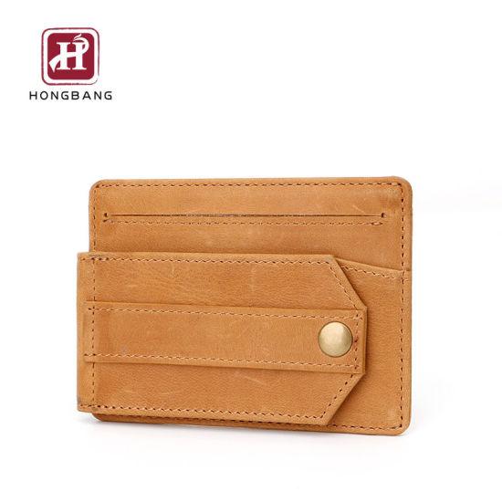 Leather Card Holder with ID Window Deboss Your Logo Custom RFID Card Holder