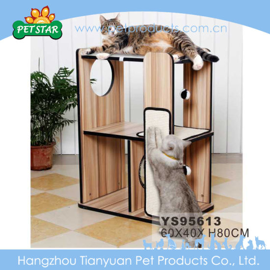 Large Luxury Indoor Wood Cat Tree, Cat Furniture For Large Cats