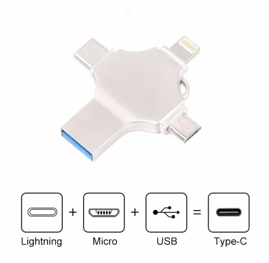 2020 Top Selling 4 in 1 Multi-Function OTG USB Flash Drive for Type-C /Lightning/ Micro USB/ Computer