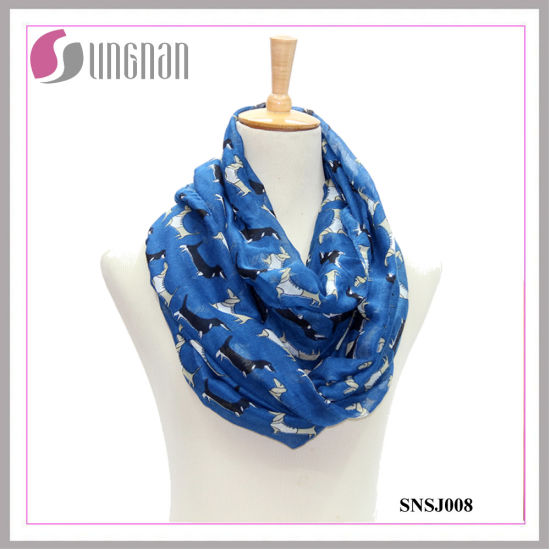 Dachshund Pattern Printed Voile Ladies Infinity Scarf (SNSJ008)