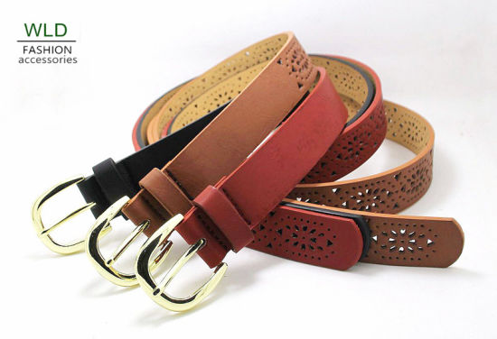 Fashion PU Belt with Floral Pierced Pattern Belt Ky6277