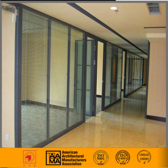 Interior Aluminum Frame Glass Office Partition With Blind Inside