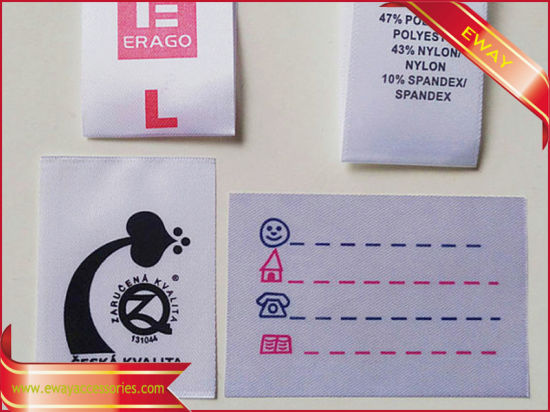 China Nylon Satin Printed Label Clothing Instruction Printed Label
