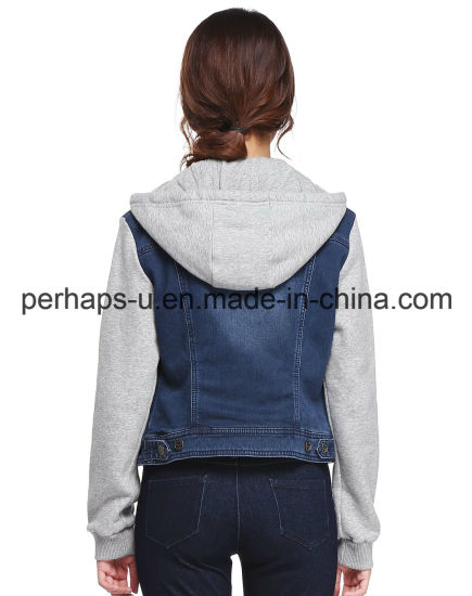 High Quality Female Hooded Cotton Denim Jacket pictures & photos