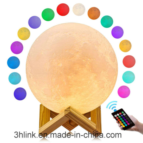 Moon Lamp 3D Gdpets Moon Light 16 Color Moon Light Lamp 3D Print Moon Night Light with Stand/Dimmable Remote&Touch Control Decorative Lamp for Baby Kids Friend pictures & photos