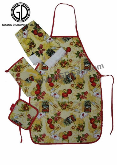Beautiful Customized Printing Polyester Kitchen Artist Apron Set pictures & photos