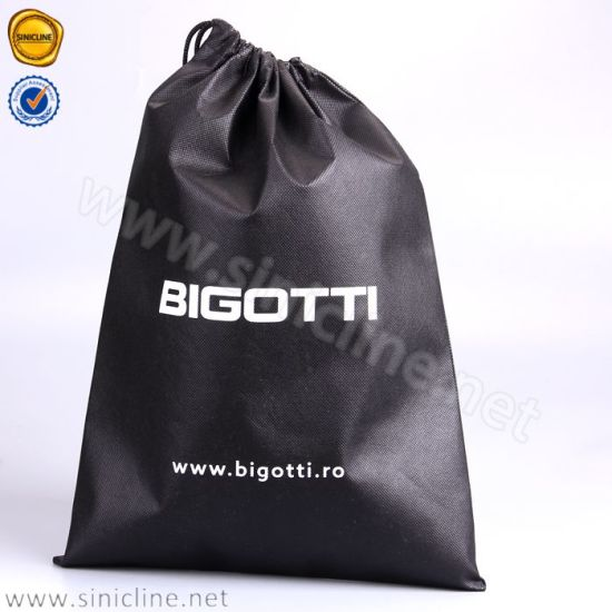 e907a68668ef China Sinicline Custom Logo Black Non-Woven Drawstring Bags for ...