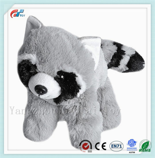 ASTM F 963 Certificated Cute Fluffy Raccoon Soft Toy Plush Jungle Animals