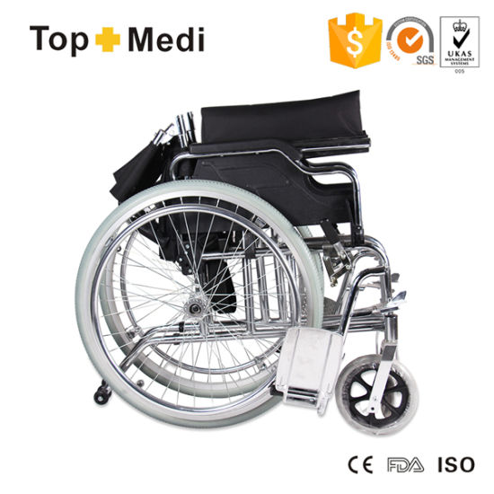 Medical Chormed Steel Detachable Wheel Foldable Manual Wheelchair pictures & photos