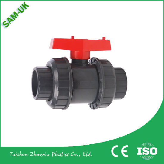China Price Double Union PVC Plastic Ball Valve for Water and Gas High Pressure in Oujia Valve Fctory pictures & photos