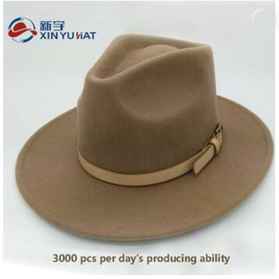 8506fc9972a Fashion Camel Men Wool Felt Fedora Hat with Leather Belt - China ...