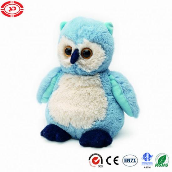 Cozy Plush Owl Fluffy Blue Stuffed Cute Soft Toy