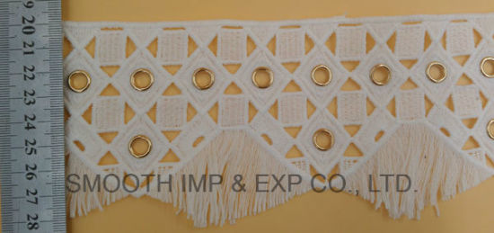 Fashion Embroidery Trim Water Soluble Lace with Eyelets Fabric Cotton pictures & photos