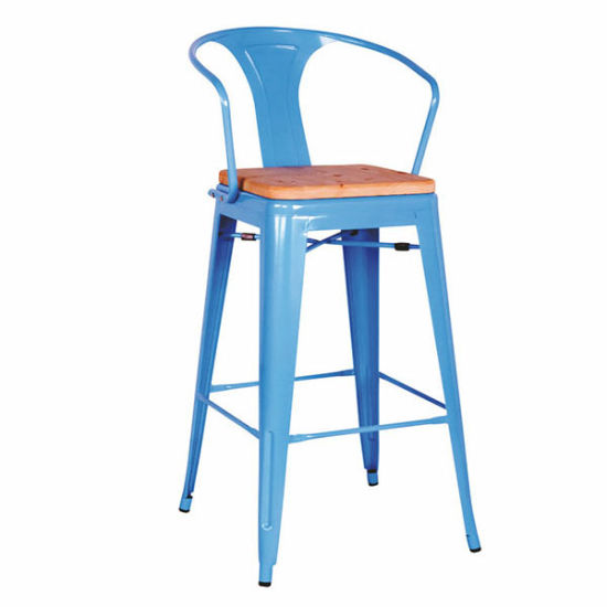 Industrial Tolix Marais Metal Dining Wooden Seat High Chair (FS D504)
