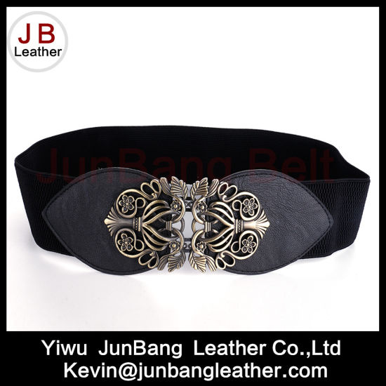 Newest Hot Sale Female Decoration Elastic Belt with Flower Buckle